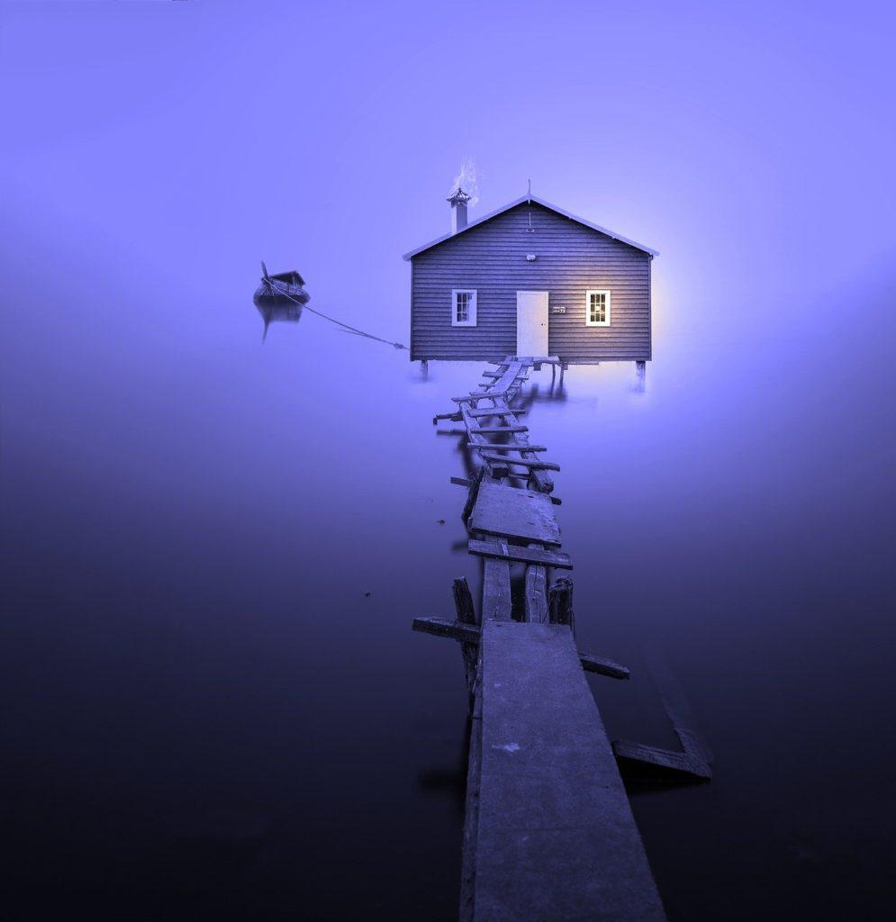 boat house, colourless, foggy